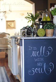 Chalkboard wall in the kitchen.