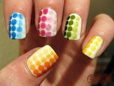 Faded Rainbow Dots on White Dotticure Nail Art