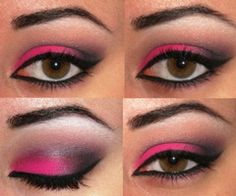 Pink and black eye-make-up Pink Eye Makeup, Black Makeup, Pink Eyeshadow, Kiss Makeup, Makeup For Brown Eyes, Love Makeup, Hair Makeup, Dance Makeup, Awesome Makeup