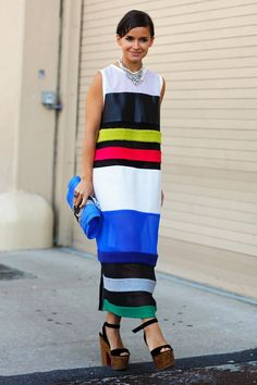 Miroslava Duma in amazing bold stripe maxi . Stripes In Streetstyle