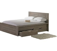 buy collection seattle kingsize 2 drw storage bed smokey oak at argosco - Bed Frames Seattle