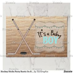 Hockey Sticks Party Rustic Its A Boy Baby Shower Paper Placemat This product features crossed hockey sticks with a wood background. Great for a rustic, country hockey themed baby shower. #itsaboy #rustic #hockey #baby #shower