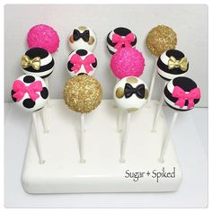 Kate Spade inspired Cakepops (without flowers per the clients request ). #katespade #fashion #cakepops #love #teamnosleep #instagood #workflow #sugarandspiked Handpainted stripes and polka dots with @pinkpoppypastriesandpops available at @lollicakesbyella Cake pop stand by @kcbakes