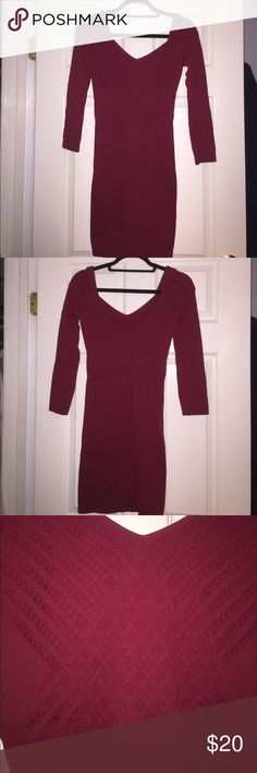 Free People Bella Coachella Seamless Dress Crimson red, never been worn, bodycon dress. Free People Dresses Long Sleeve