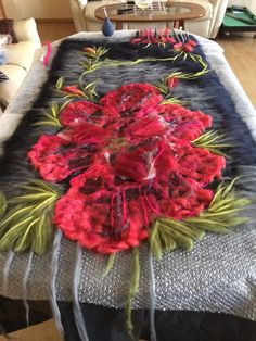 Luxury felted scarf wrap with huge 3D #poppies by Nadin Smo design www.nadinsmo.com