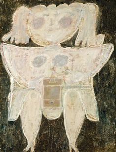 Jean Dubuffet (French, 1901-1985), Woman Grinding Coffee, 1945. Plaster, oil, and tar with sand on canvas, 116.2 x 88.9 cm.