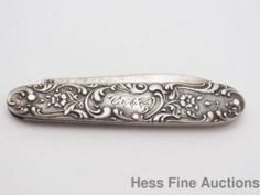 Genuine Sterling Silver Whiting Antique Art Nouveau Fruit Pocket Knife