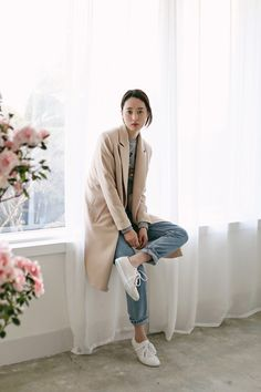 Casual Camel Coat, Denim & Sneakers #style #fashion...