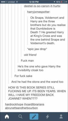 Dumbledore = Death; Harry, Shape and Voldemort = the brotherd