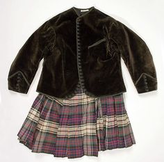 Ensemble Date: 1860s Culture: Scottish Medium: (a) silk, wool (b) silk, cotton (c) silk, cotton, metal (d) wood, metal, glass (e) leather, metal, hair