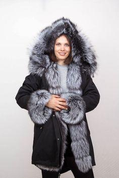 Новая женская военная парка пальто куртка серебряный реальный мех FOX класс  не норка   Одежда, 052b9f2877a