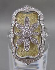 LARGE DIAMOND 14K WHITE YELLOW GOLD NORTH SOUTH FLOWER FILIGREE RING 25MM R10138
