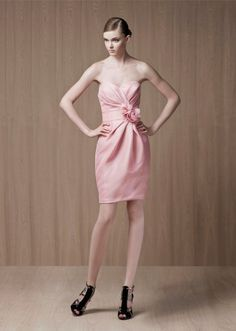 A-line Sweetheart Ruched Bodice Flower Waist Satin Cocktail Dress-soc0044,  $154.95
