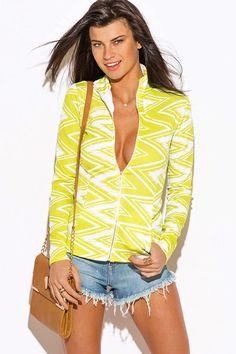 womens lime green chevron print long sleeve jacket
