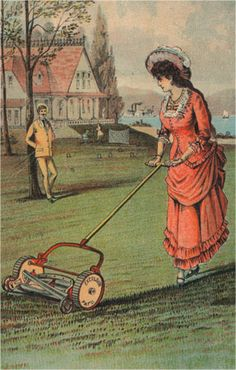 Lady with a lawn mower