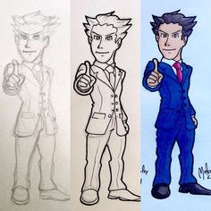 Making of #PhoenixWright from #AceAttorney series  #wip #process #pencil  #fanart #gaming #game #videogames #nintendo #ds #capcom #lawyer #attorney #adventure