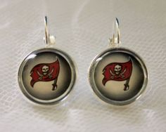 Tampa Bay Buccaneer Earrings made from Football Trading Cards Great for Game Day…