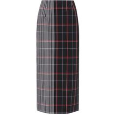 Victoria Beckham Pen Plaid Pencil Skirt ($1,195) ❤ liked on Polyvore featuring skirts, blue, blue skirt, victoria beckham, blue pencil skirt, plaid skirt and tartan skirt