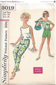 40% OFF 60's Simplicity 3019 Pre Teen Overblouse Cigarette Pant Shorts Sz 10 by DecadesofCharm on Etsy https://www.etsy.com/listing/212941858/40-off-60s-simplicity-3019-pre-teen