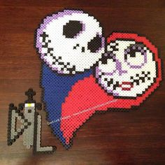 Jack and Sally heart perler beads by Dark Link Designs