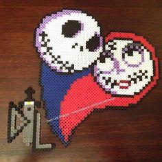 Jack and Sally heart perler beads by Dark Link Designs