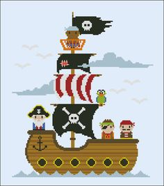 Captain Jacks Pirate Ship Cross stitch PDF by cloudsfactory