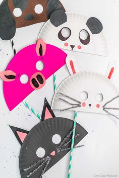 Hand Crafts For Kids, Paper Plate Crafts For Kids, Diy Arts And Crafts, Hobbies And Crafts, Projects For Kids, Art For Kids, Paper Plate Animal Masks, Animal Masks For Kids, Animal Crafts For Kids