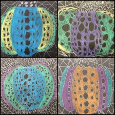 Special education Art lesson plan - Artist Focus: Yayoi Kusama - fall art lesson - patterns and design - Materials: black construction paper, white crayons, construction paper crayon - step by step approach to drawing a pumpkin, then adding polka dots and triangles like Yayoi Kusamas famous pumpkins artworks. Students loved this lesson- Middle school age students Halloween Art Projects, Fall Projects, Class Projects, Special Needs Art, Art Education, Special Education, Yayoi Kusama Pumpkin, Visual Art Lessons, Middle School Art