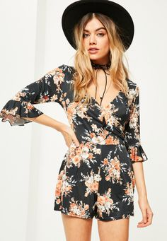 7ff116f077 Missguided - Black Floral Print Slinky Frill Sleeve Wrap Playsuit Wrap  Playsuit