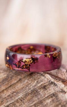 Ring Deep Purple Resin Ring Copper Gold Flakes Big size 12 Smooth Ring OOAK dark burgundy marsala geometric jewelry