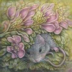 """Pink Floral with Mouse"" by Lynn Bonnette"