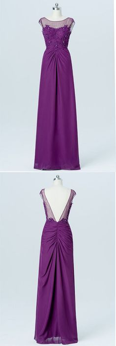 Vintage Violet Chiffon A-Line Sleeveless Floor-Length Open Back Bridesmaid Dresses