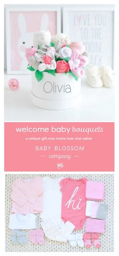 Unique baby girl gift basket - baby clothing flower bouquet to welcome a new baby girl that new moms love and adore! by Baby Blossom Company Baby Girl Gift Baskets, Baby Shower Gift Basket, Baby Shower Fall, New Mom Gift Basket, Baby Sock Bouquet, Bouquet Box, Pink Bouquet, Diy Baby Gifts, Bazaars