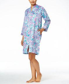 Miss Elaine Zip-Front Brushed-Back Satin Short Robe