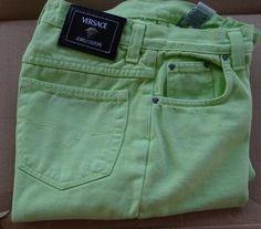 Versace Jeans Couture Green Denim Pants Womens Mens Vintage #Versace #StraightLeg