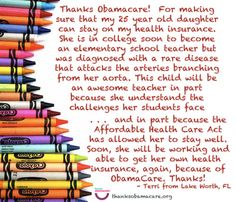 Terry in Florida is saying #ThanksObamacare for letting her daughter stay covered on her insurance.  That coverage helped her daughter fight a rare disease and go on to soon become and elementary school teacher.