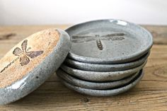 In Stock! - Set of 6 - Ceramic Dish - Soap Dish - Candle holder- Grey Blue Dragonfly Dish - Tea Bag/Spoon Rest - Grey - 6 Grey Coasters