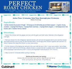 Enter to Win: Cuisinart Daily Giveaways HO steam cooking Roast Chicken Recipes, Roasted Chicken, Convection Oven Recipes, Perfect Roast Chicken, Chicken Home, Sounds Good, Enter To Win, Stuffed Whole Chicken, Salmon