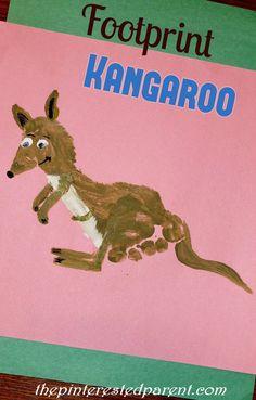 Footprint Kangaroo - Footprint Craft A-Z K is for Kangaroo