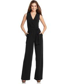 NY Collection Petite Jumpsuit, Sleeveless Surplice Wrap Belted Wide Leg Jersey - Pants - Women - Macy's
