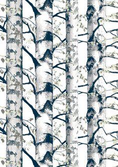 Koivukuja, pink, design by Matleena Issakainen Textile Company, Scandinavian Design, Paper Design, Finland, Wall Decor, Colours, Curtains, Landscape, Interior