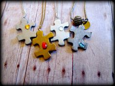 DIY puzzle piece necklaces (via Two Butterflies)