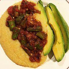 """#iCook #Haitian #Vegan #CornMeal aka #MaisMoulin aka #Polenta aka #CornGrits with Stewed #Okra #Tomatoes & #Avocado  #WhatVegansEat #VeganFoodShare #VeganHaitian #HaitianVeganFood #EatLikeYouGiveAFuck"" Photo taken by @thick.veganish.haitian on Instagram, pinned via the InstaPin iOS App! http://www.instapinapp.com (02/11/2015)"