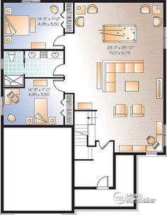 Plan de Sous-sol Pour famille recomposée, 4 chambres, 2 séjours, coin ordinateur - Vigneau 2