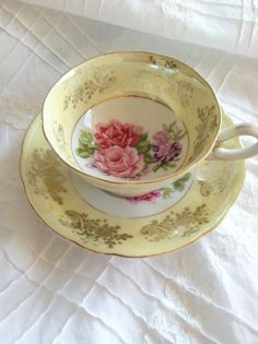 Vintage Signed Royal Halsey Teacup and Saucer - Circa - 1950's