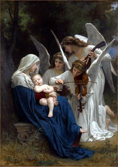 off Hand made oil painting reproduction of La Vierge Aux Anges, one of the most famous paintings by William-Adolphe Bouguereau. The French artist William-Adolphe Bouguereau painted the artwork entitled La Vierge Aux Anges, trans.