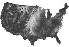 The Wind Map traces the wind patterns in the United States in real time. Image: Fernanda Viégas and Martin Wattenberg/Point B. Studio