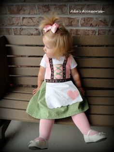 Baby Dirndl In Pink And Green Liesl Costume Halloween Oktoberfest