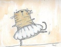 ballet, cat, cute, draw, drawing