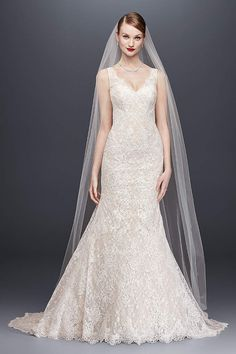 2423f5637e3df Oleg Cassini 'Lace Trumpet' size 6 new wedding dress front view on model -  Cosmetica
